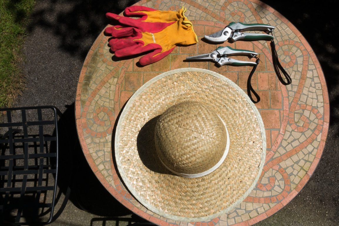 Gardening hat and clippers on table
